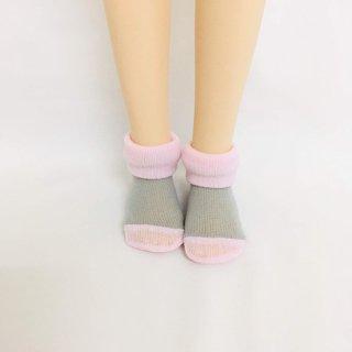 MDD・ツートンくるぶしソックス/グレー×ピンク (1,000円)
