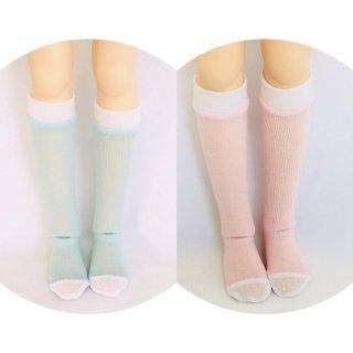 MDD・ツートンハイソックス/ピンク,水色(各1,000円)