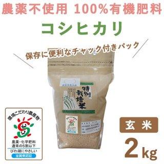滋賀県産 無農薬100%有機肥料 コシヒカリ玄米 2Kg