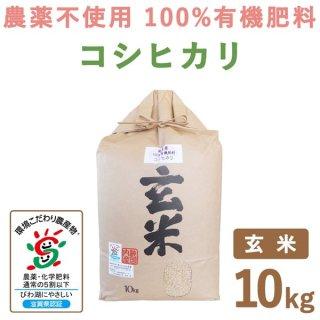 滋賀県産 無農薬100%有機肥料 コシヒカリ玄米 10kg