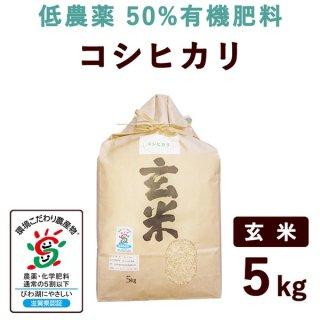 滋賀県産 低農薬50%有機肥料コシヒカリ 玄米 5kg