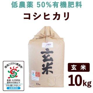 滋賀県産 低農薬50%有機肥料コシヒカリ 玄米 10kg