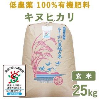 滋賀県産低農薬100%有機肥料キヌヒカリ玄米25kg
