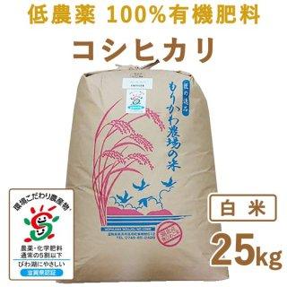 滋賀県産 低農薬100%有機肥料 コシヒカリ白米25kg