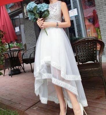 ノースリーブ レイヤード テールカット ドレス 上品 ワンピース