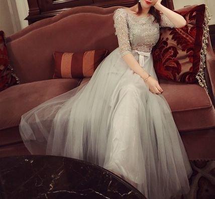 ふんわり スカート ロングドレス お呼ばれ ワンピース