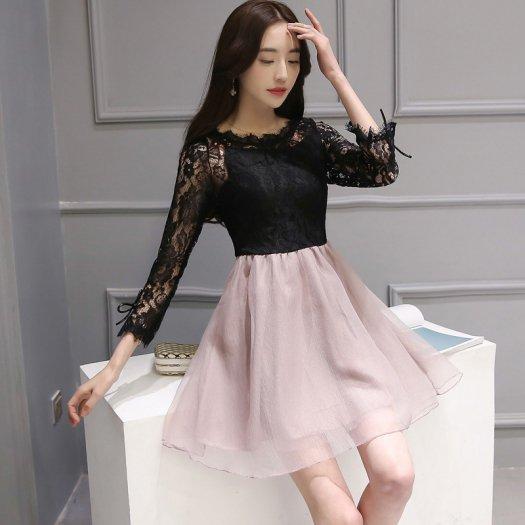 袖リボン 可愛い 黒 レーストップ 華やか ミニ フレア 長袖 ドレス
