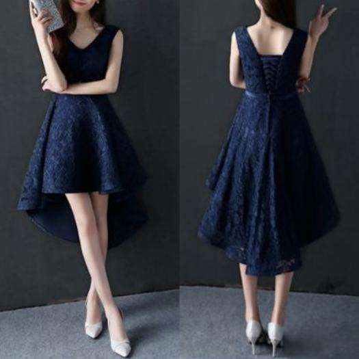 花柄 刺繍 フィッシュテール ネイビー Aライン Vネック ミディアム ドレス