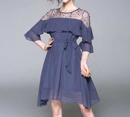 パール シフォン ショート 七分丈 無地 切替 パーティー ドレス
