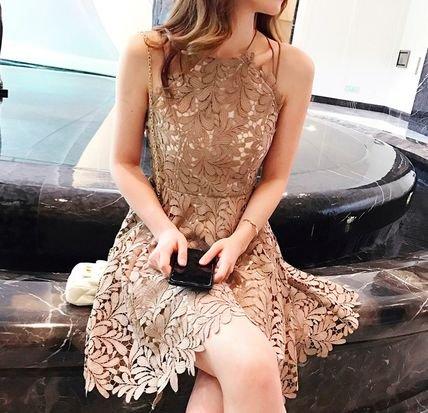 レース ノースリーブ ショート Aライン 結婚式 お呼ばれ パーティー ドレス