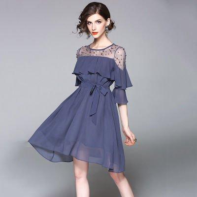 シフォン 切替 結婚式 二次会 お呼ばれ ショート丈 ドレス ワンピース