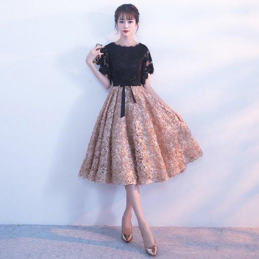 花モチーフ レース 半袖 バイカラー クルーネック フレア ミディアム ドレス
