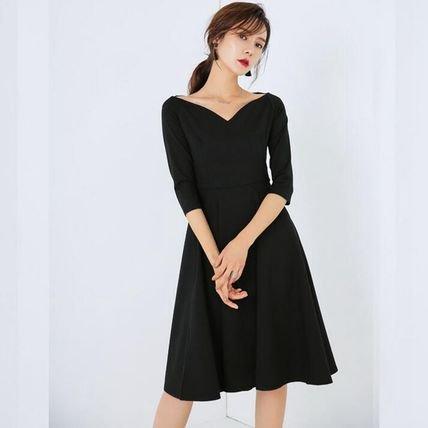 デコルテ魅せ フォーマル 七分袖 シンプル ブラック ミディアム ワンピース
