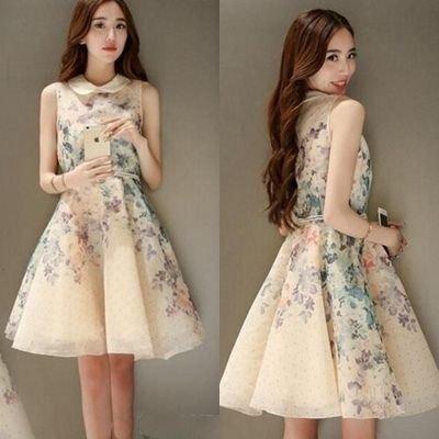 花柄 ノースリーブ 襟付き フレア フェミニン ドレス ワンピース