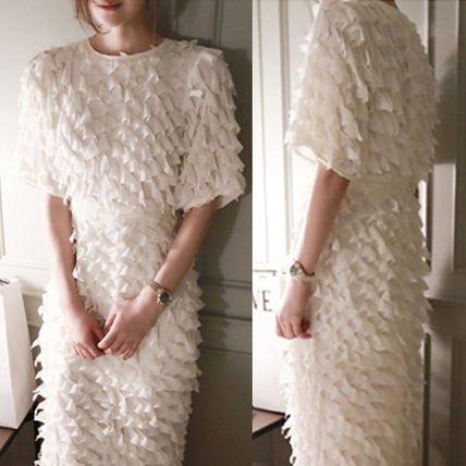 総フリル タイト ミモレ丈 5分袖 ゴージャス 結婚式 ドレス ワンピース