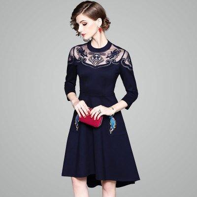 アシメントリー 刺繍 ミディアム 上品 結婚式 二次会 ドレス ワンピース