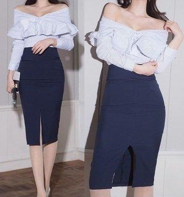 ストライプ フレア シャツ タイトヒップ ツーピース セクシー エレガント ドレス