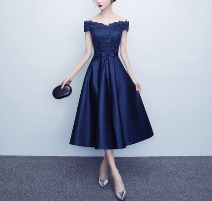 花柄 刺繍 レース オフショルダー フレア ミモレ丈 ドレス