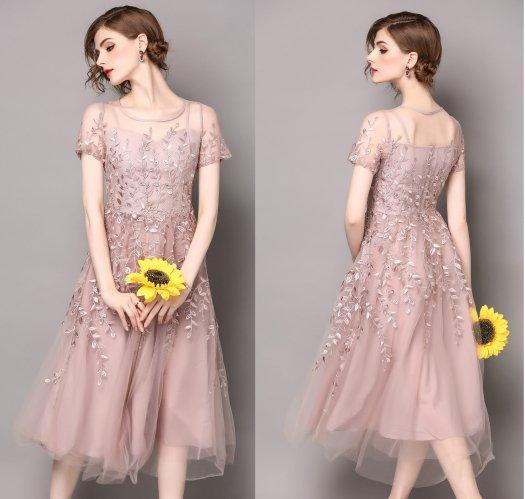 半袖 刺繍 Aライン ミディアム おしゃれ 結婚式 パーティー ドレス