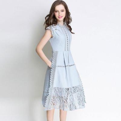 レース 切替 半袖 エレガント 結婚式 お呼ばれ ドレス ワンピース