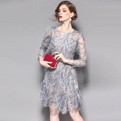 7分袖 スパンコール 刺繍 シースルー 結婚式 パーティー ドレス ワンピース
