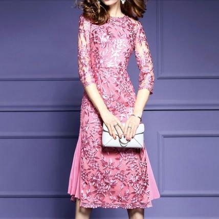 花柄 刺繍 レース 7分袖 タイト 二次会 結婚式 ミディ丈 上品 ドレス ワンピース