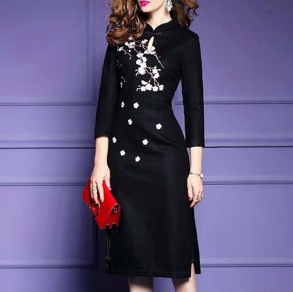 チャイナドレス風 刺繍 7分袖 スリット プリーツ ミディアム ドレス ワンピース