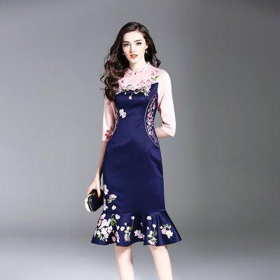 バイカラー 花柄 刺繍 フレア ミディアム エレガント 上品 結婚式 ドレス ワンピース