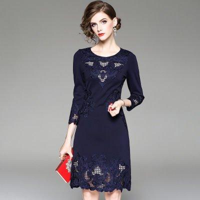 刺繍 7分袖 タイト ショート丈 結婚式 二次会 お呼ばれ ドレス ワンピース