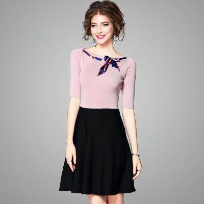 バイカラー Aライン ニット スリム ショート丈 半袖 ドレス ワンピース