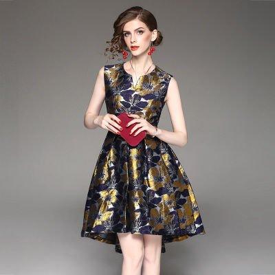 ノースリーブ 花柄 ジャカード キュート 結婚式 お呼ばれ ドレス ワンピース