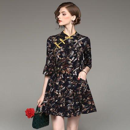花柄 プリント 半袖 Aライン チャイナドレス風 ショート丈 ドレス ワンピース