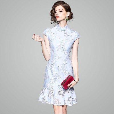 3ac4c17dba7ba レース 半袖 お花 フレア 花柄 ショート丈 結婚式 お呼ばれ ドレス ワンピース