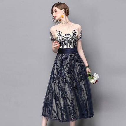 レース 花柄 刺繍 Aライン 半袖 結婚式 パーティー ロング ドレス ワンピース