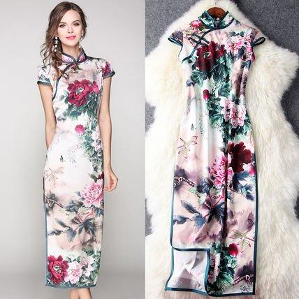花柄 半袖 スリット タイト お呼ばれ ロングドレス ワンピース