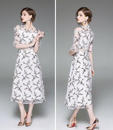 花柄 刺繍 半袖 キュート 上品 パーティー ロング ラップドレス ワンピース
