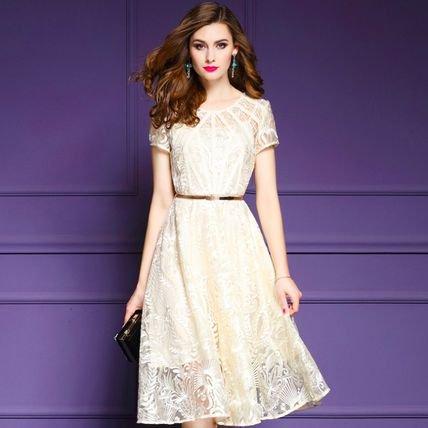 Aライン 半袖 刺繍 スリム 上品 結婚式 お呼ばれ 二次会 ドレス ワンピース