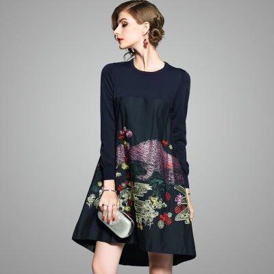 ニット 長袖 アシメトリー 刺繍 ショート丈 上品 カジュアル ワンピース ドレス