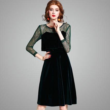 ベルベット レース 切替 7分袖 スリム 結婚式 お呼ばれ ワンピース ドレス 全2色