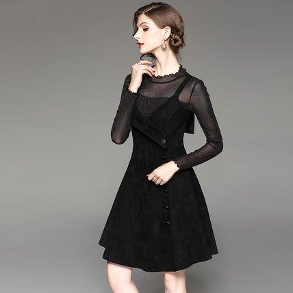 シースルー 長袖 トップス ショート丈 ワンピース ツーピース セット ドレス