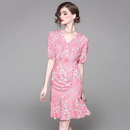Vネック 花柄 プリント フレア 半袖 スリム ショート丈 ワンピース ドレス