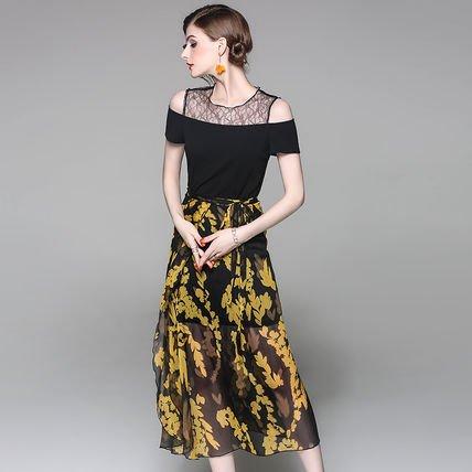 レース 切替 ワンピース シフォン ロング スカート セット ドレス 全2色