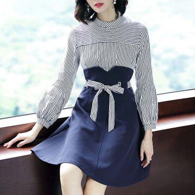 ストライプ 長袖 異素材ミックス エレガントショート丈 ワンピース ドレス 全2色