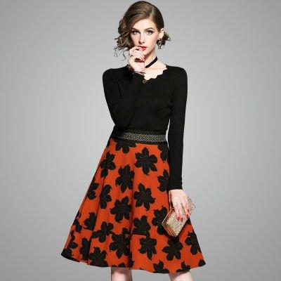 Aライン ニット 切替 長袖 お花 上品 ショート丈 ワンピース ドレス 全2色