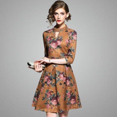 花柄 フラワー プリント スリム 7分袖 上品 ショート丈 ワンピース ドレス
