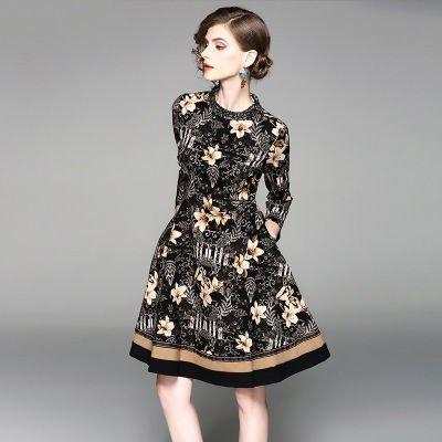 襟ビジュー お花 プリント 7分袖 ショート丈 上品 結婚式 ワンピース ドレス
