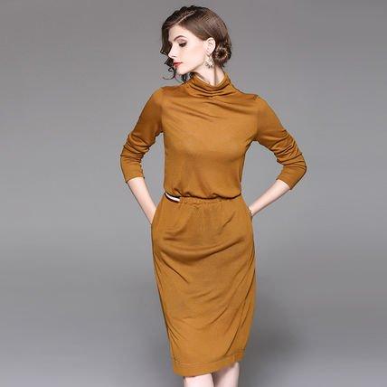エレガンス シンプル 長袖 ミディアム カジュアル ワンピース ドレス 全2色