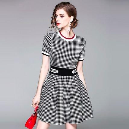 チェック 半袖 スリム Aライン ショート丈 エレガント ワンピース ドレス 全2色