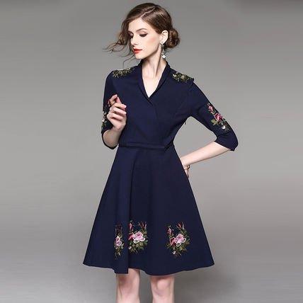 Vネック 花柄 刺繍 7分袖 Aライン スリム 結婚式 ワンピース ドレス 全2色