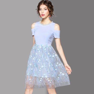 お花 刺繍 レース 切替 キュート 結婚式 パーティー 二次会 ドレス ワンピース